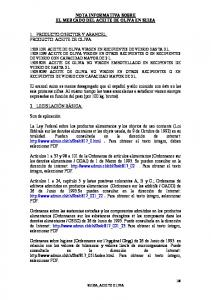 NOTA INFORMATIVA SOBRE EL MERCADO DEL ACEITE DE OLIVA EN SUIZA