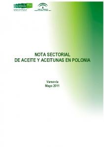 NOTA SECTORIAL DE ACEITE Y ACEITUNAS EN POLONIA