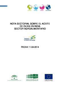 NOTA SECTORIAL SOBRE EL ACEITE DE OLIVA EN INDIA SECTOR AGROALIMENTARIO FECHA