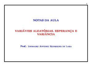 NOTAS DA AULA. Prof.: Idemauro Antonio Rodrigues de Lara