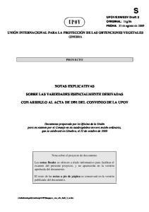 NOTAS EXPLICATIVAS SOBRE LAS VARIEDADES ESENCIALMENTE DERIVADAS CON ARREGLO AL ACTA DE 1991 DEL CONVENIO DE LA UPOV