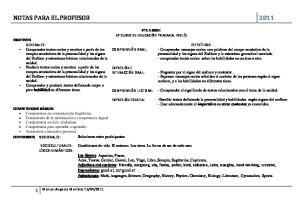 NOTAS PARA EL PROFESOR 2011