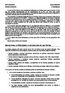 NOTAS PARA LA PAU SOBRE LA NATURALEZA DE LOS TEXTOS
