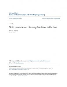 Note, Government Housing Assistance to the Poor
