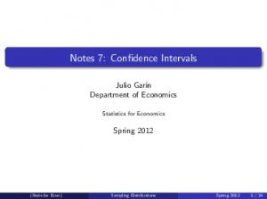 Notes 7: Confidence Intervals