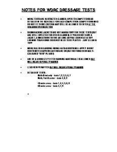 NOTES FOR WDRC DRESSAGE TESTS