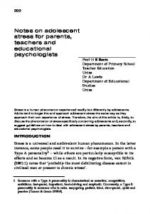 Notes on adolescent stress for parents, teachers and educational psychologists