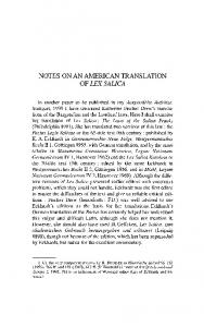 NOTES ON AN AMERICAN TRANSLATION OF LEX SALICA