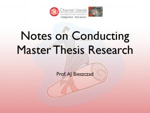 Notes on Conducting Master Thesis Research