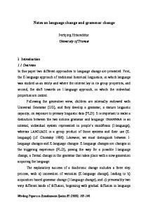 Notes on language change and grammar change