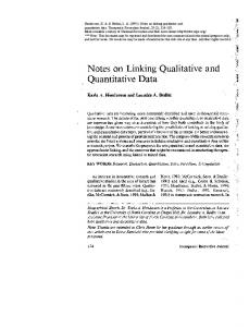 Notes on Linking Qualitative and Quantitative Data