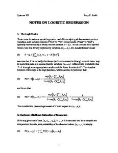 NOTES ON LOGISTIC REGRESSION
