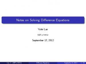 Notes on Solving Difference Equations
