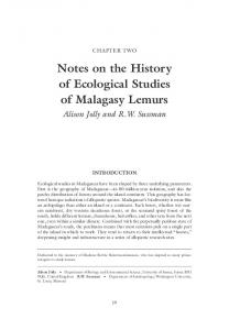 Notes on the History of Ecological Studies of Malagasy Lemurs