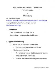 NOTES ON UNCERTAINTY ANALYSIS FOR MEL LABS by Matt Young