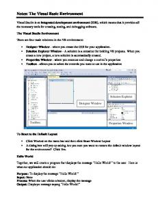 Notes: The Visual Basic Environment