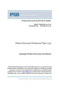 Notes to Financial Statements (Topic 235)