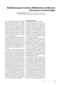 Notfallvorsorge in Archiven, Bibliotheken und Museen: Ein Seminar und seine Folgen