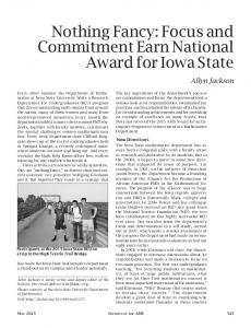 Nothing Fancy: Focus and Commitment Earn National Award for Iowa State
