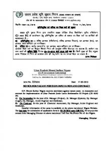 NOTICE FOR VACANT POSTS ON DEPUTATION AND CONTRACT