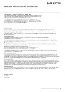 NOTICE OF ANNUAL GENERAL MEETING 2014