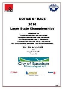 NOTICE OF RACE 2016 Laser State Championships