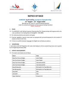 NOTICE OF RACE EUROSAF
