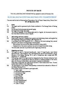 NOTICE OF RACE XLIX BALKAN & OPEN BALKAN SAILING CHAMPIONSHIP