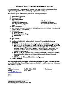 NOTICE OF REGULAR BOARD OF ALDERMAN MEETING