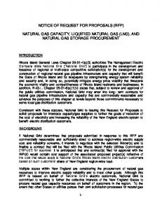 NOTICE OF REQUEST FOR PROPOSALS (RFP) NATURAL GAS CAPACITY, LIQUIFIED NATURAL GAS (LNG), AND NATURAL GAS STORAGE PROCUREMENT