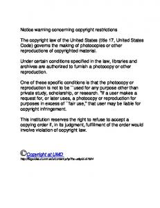 Notice warning concerning copyright restrictions