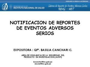 NOTIFICACION DE REPORTES DE EVENTOS ADVERSOS SERIOS