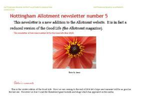 Nottingham Allotment newsletter number 5