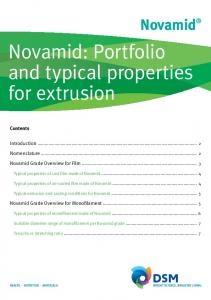 Novamid: Portfolio and typical properties for extrusion
