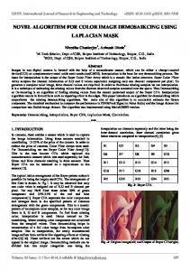 NOVEL ALGORITHM FOR COLOR IMAGE DEMOSAIKCING USING LAPLACIAN MASK