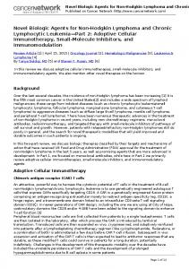 Novel Biologic Agents for Non-Hodgkin Lymphoma and Chronic