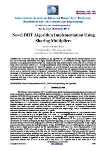 Novel DHT Algorithm Implementation Using Sharing Multipliers