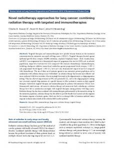 Novel radiotherapy approaches for lung cancer: combining radiation therapy with targeted and immunotherapies