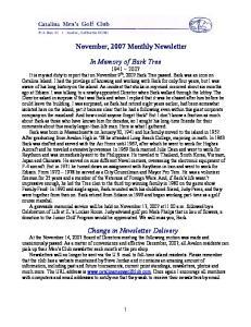 November, 2007 Monthly Newsletter