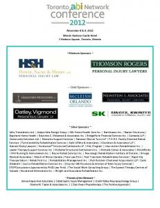 November 8 & 9, 2012 Westin Harbour Castle Hotel 1 Harbour Square, Toronto, Ontario. ~ Platinum Sponsors ~ ~ Gold Sponsors ~