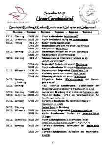 November Unser Gemeindebrief. Termine - Termine - Termine - Termine - Termine - Termine