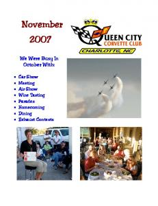 November We Were Busy In October With: Car Show Meeting Air Show Wine Tasting Parades Homecoming Dining Exhaust Contests