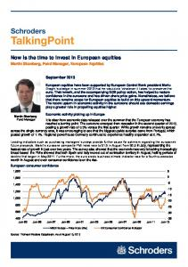 Now is the time to invest in European equities