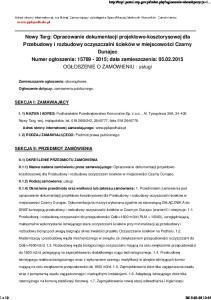 Nowy Targ: Opracowanie dokumentacji projektowo-kosztorysowej dla