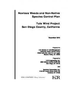 Noxious Weeds and Non-Native Species Control Plan. Tule Wind Project San Diego County, California