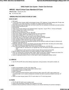 NPEOC: Adult Critical Care Standard Of Care