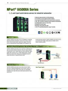 NPort IA5000A Series. 1, 2, and 4-port serial device servers for industrial automation. Overview
