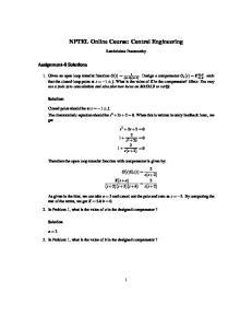 NPTEL Online Course: Control Engineering