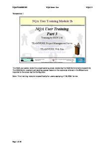 NQA User Training Module 2b