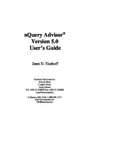 nquery Advisor Version 5.0 User s Guide